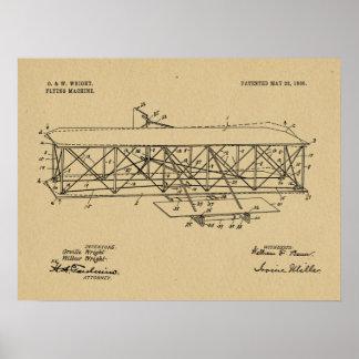 Poster Copie 1906 de dessin de brevet d'avion de frères