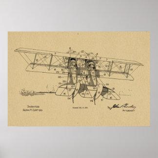 Poster Copie 1919 d'art de dessin de brevet de biplan