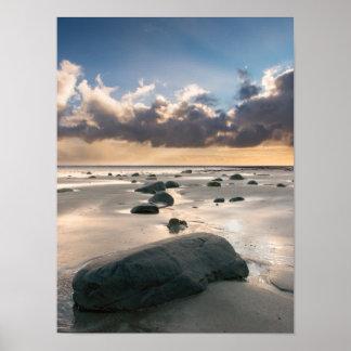 Poster Copie/affiche de rochers de plage