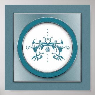 Poster Copie carrée florale élégante remous bleu/gris