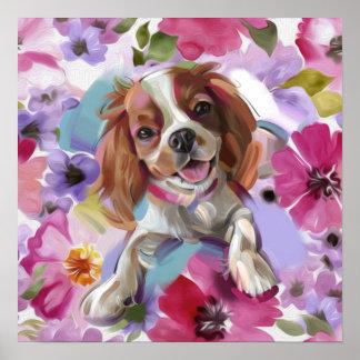 Poster Copie cavalière d'art de chien de Blenheim de