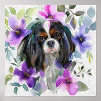 Poster Copie cavalière tricolore d'art de chien de