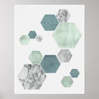 Poster Copie côtière géométrique et scandinave d'art de
