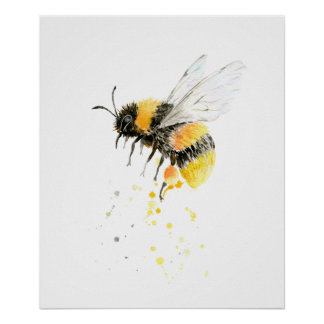Poster Copie d'abeille de miel d'aquarelle
