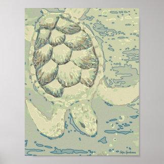 Poster Copie d'affiche de toile de la tortue 8.5x11 de