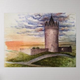 Poster Copie d'aquarelle de château irlandais, Doolin