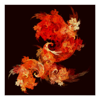 Poster Copie d'art abstrait de Firebirds de danse
