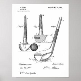 Poster Copie d'art de brevet de conception de club de