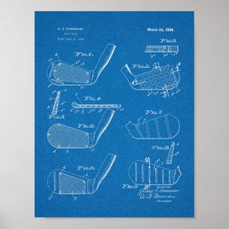 Poster Copie d'art de brevet de conception de clubs de