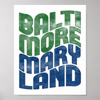 Poster Copie d'art de cité d'affiche de Baltimore le