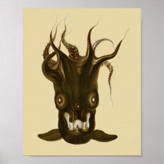 Poster Copie d'art de créature de la Mer Noire de calmar