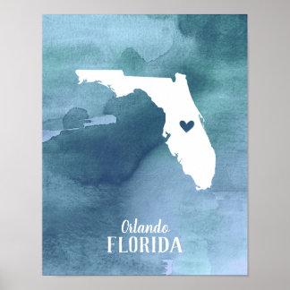 Poster Copie d'art de la Floride personnalisée par