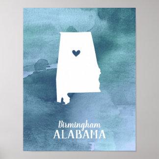 Poster Copie d'art de l'Alabama personnalisée par