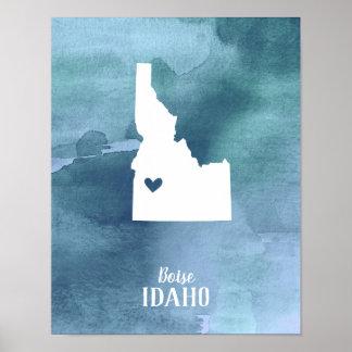 Poster Copie d'art de l'Idaho personnalisée par aquarelle