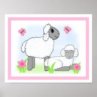 Poster Copie d'art de mur de rose de bébé de crèche de