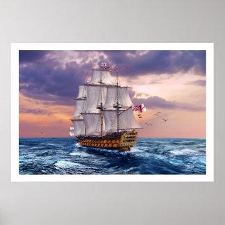 Poster Copie d'art de peinture de navire amiral de HMS