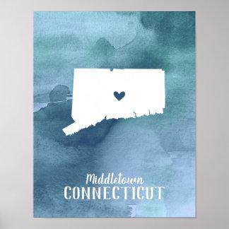 Poster Copie d'art du Connecticut personnalisée par