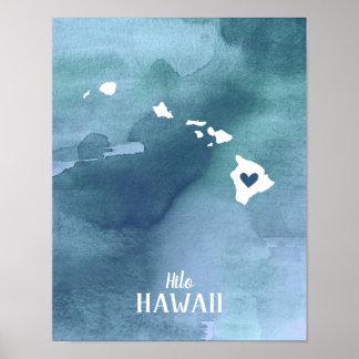Poster Copie d'art personnalisée par aquarelle bleue