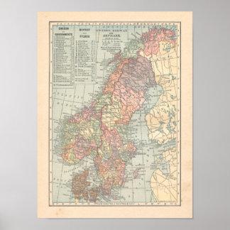 Poster Copie de carte du cru 1923 de la Suède Norvège