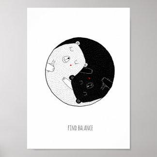 Poster Copie de crèche, équilibre de découverte, Yin et