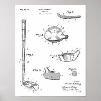 Poster Copie de dessin d'art de brevet de club de golf