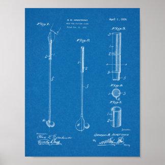 Poster Copie de dessin d'art de brevet de poignée de club