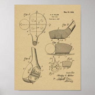 Poster Copie de dessin d'art de brevet de tête de club du