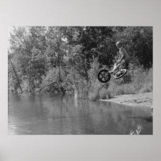 Poster Copie de la vieille école BMX, un jour au lac