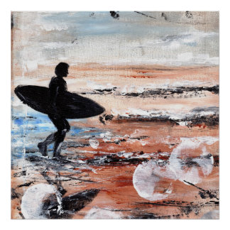 Poster Copie de marche d'art de surfer