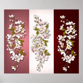 Poster Copie de panneaux de fleurs de cerisier de ressort