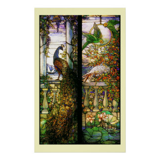 Poster Copie de perroquets de paon en verre souillé de