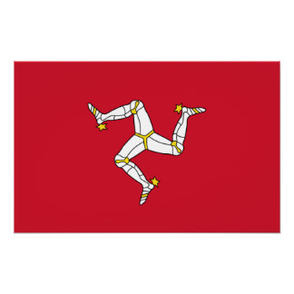 Poster Copie de toile avec le drapeau d'île de Man,