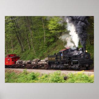 Poster Copie de train de fumée et de vapeur