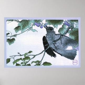 Poster Copie d'Ukiyo-e de Japonais d'un oiseau mangeant