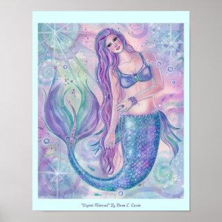 Poster Copie en cristal d'affiche d'art de sirène par