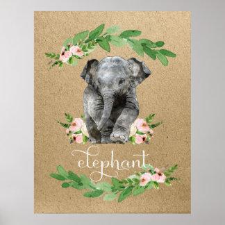 Poster Copie florale rose de crèche d'éléphant