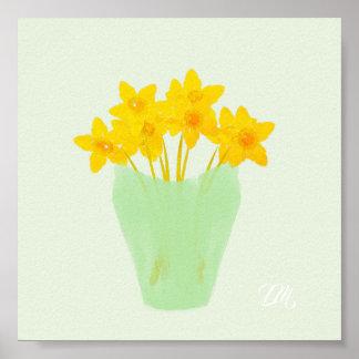 Poster Copie jaune lumineuse d'aquarelle de ressort de