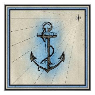 Poster Copie marine d'ancre noire avec le cadre bleu