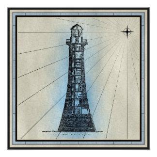 Poster Copie marine de phare noir avec le cadre bleu