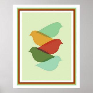 Poster Copie moderne de conception d'oiseau de la moitié