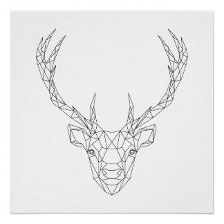 Poster Copie noire de cerfs communs et blanche