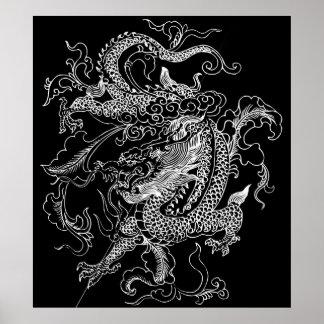Poster Copie noire et blanche d'affiche de dragon