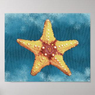 Poster Copie orange d'étoiles de mer