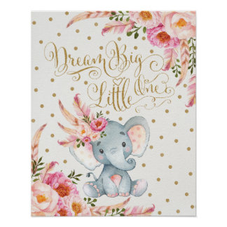 Poster Copie rose d'art de mur de crèche d'éléphant de