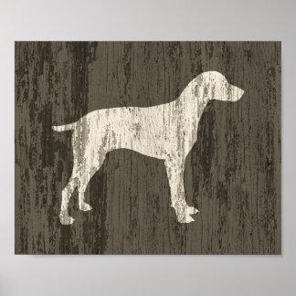 Poster Copie rustique d'art de chien d'affiche de