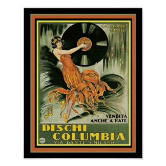 Poster Copie vintage 11 x 14 d'annonce de Dischi Colombie