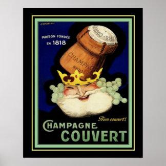 Poster Copie vintage 16x20 d'annonce de Champagne Couvert