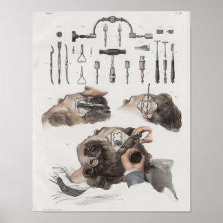 Poster Copie vintage d'anatomie d'instruments de
