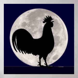 Poster Coq dans le clair de lune
