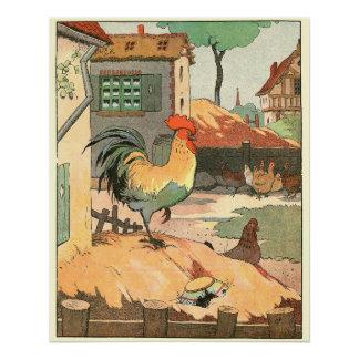Poster Coq et poules dans la basse cour